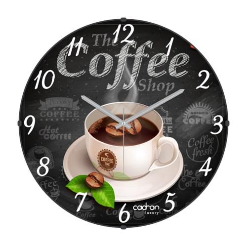 Cadran Luxury Sweet Kitchen Bombeli Cam Duvar Saati Coffe
