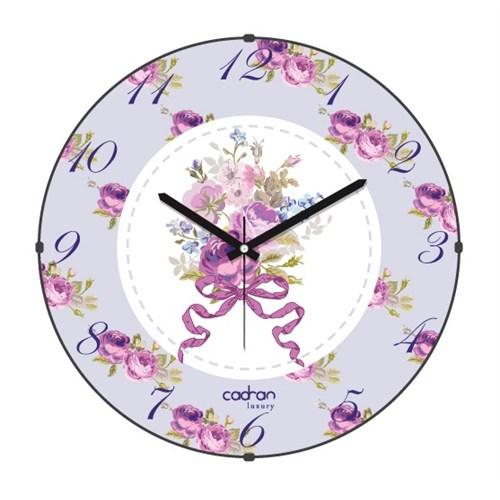 Cadran Luxury Sweet Home Bombeli Cam Duvar Saati Fiyonk Çiçekler