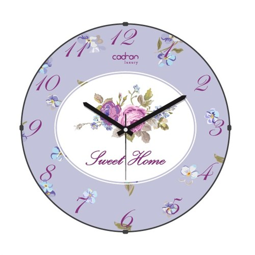 Cadran Luxury Sweet Home Bombeli Cam Duvar Saati Gül-2
