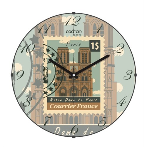 Cadran Luxury Bombeli Cam Duvar Saati Posta Pulu Paris