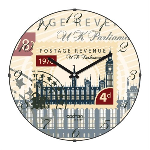 Cadran Luxury Bombeli Cam Duvar Saati Posta Pulu Londra