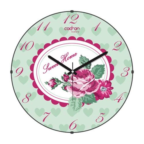 Cadran Luxury Sweet Home Bombeli Cam Duvar Saati Çiçekler-1