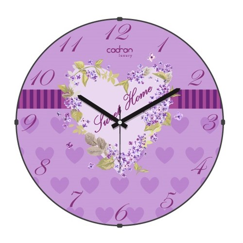 Cadran Luxury Sweet Home Bombeli Cam Duvar Saati Çiçekler-3