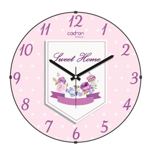 Cadran Luxury Sweet Home Bombeli Cam Duvar Saati Çiçekler-6