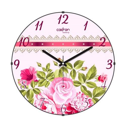 Cadran Luxury Sweet Home Bombeli Cam Duvar Saati Kurdela Çiçekler
