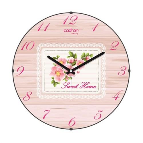 Cadran Luxury Sweet Home Bombeli Cam Duvar Saati Dantel Çiçekler-1