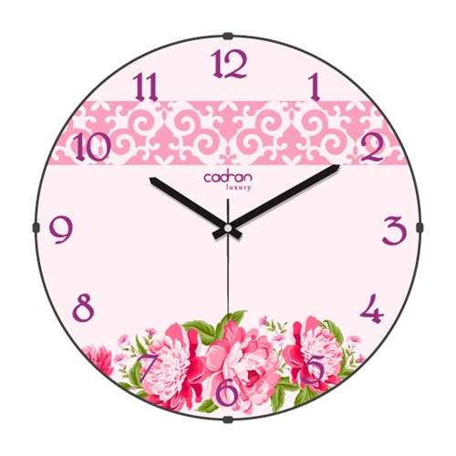 Cadran Luxury Sweet Home Bombeli Cam Duvar Saati Motifli Çiçekler