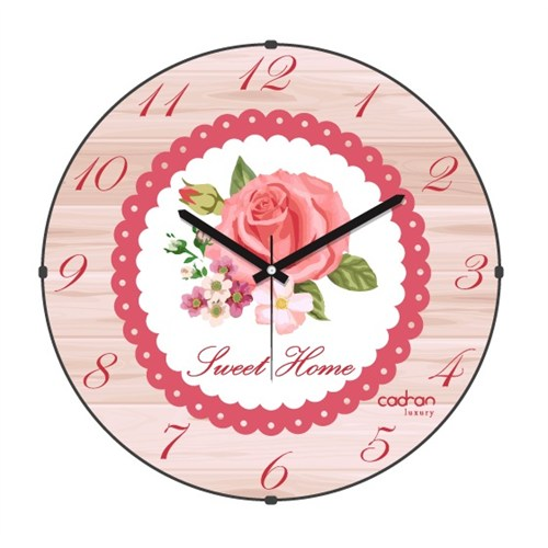 Cadran Luxury Sweet Home Bombeli Cam Duvar Saati Ahşap Desen-3