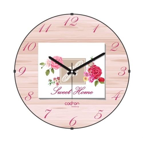 Cadran Luxury Sweet Home Bombeli Cam Duvar Saati Ahşap Desen-5