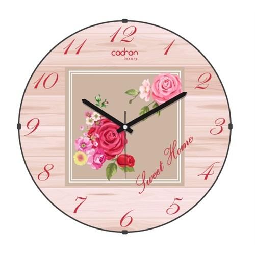 Cadran Luxury Sweet Home Bombeli Cam Duvar Saati Ahşap Desen-7