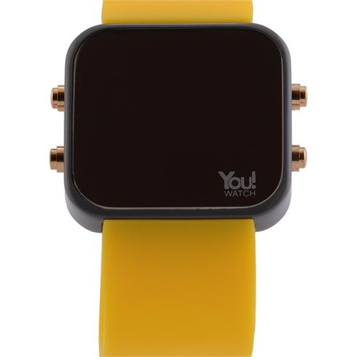 You Watch Gray Yellow Buttons Unisex Kol Saati