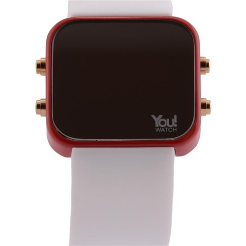 You Watch Red White Buttons Unisex Kol Saati