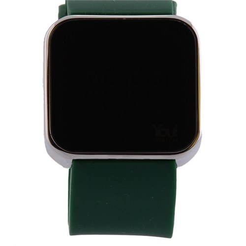 You Watch Shiny Silver Khaki Green Unisex Kol Saati
