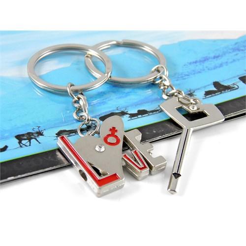 Solfera Çiftlere Özel Love Ve Ok İkili Metal Anahtarlık Seti Kc370