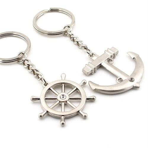 Solfera Denizci Çapa Dümen İkili Metal Anahtarlık Kc537