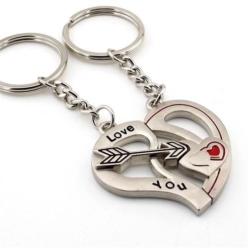 Solfera Mıknatıslı Kalp Ok İkili Metal Anahtarlık Kc545