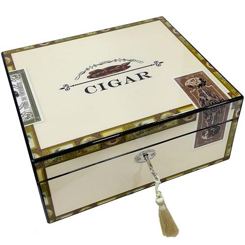Angelo İtalyan Sediri Cigar Desenli Humidor Puro Kutusu Ht57