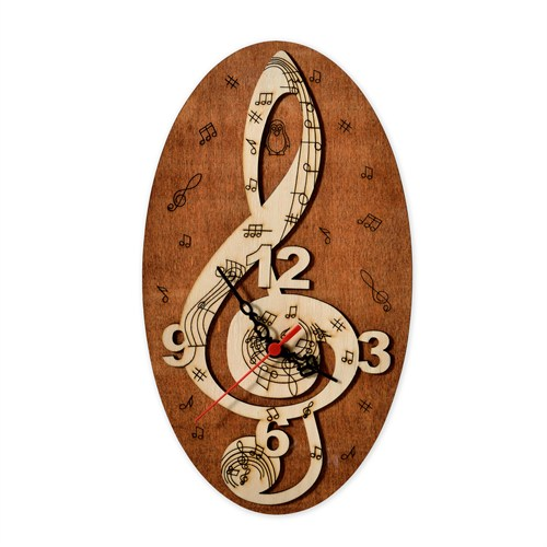 Penguen Pensa Sol Anahtarı 134 Ahşap Duvar Saati