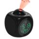 Trendelektro Çalar Saat Projektörlü Termometreli Led Işıklı Çok Fonksiyonlu Dijital Masa Saati Siyah