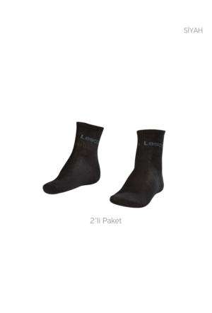 Lescon La-2181 Siyah Erkek Tenis Çorap Kısa 40-45 2'Li