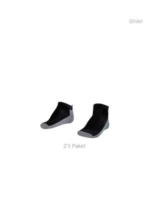 Lescon La-2185 Siyah Erkek Patik Çorap 36-40 2'Li