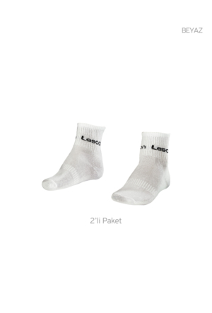 Lescon La-2181 Beyaz Erkek Tenis Çorap Kısa 36-40 2'Li