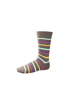 Korayspor Cıft Çizgili Renkli 120 Antrasıt Erkek Çorap Çizgili