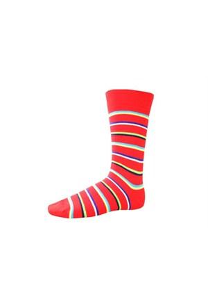 Korayspor Cıft Çizgili Renkli 120 Kırmızı Erkek Çorap Çizgili