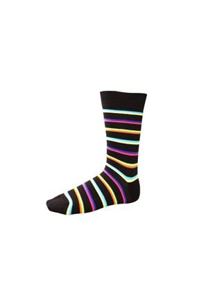 Korayspor Cıft Çizgili Renkli 120 Siyah Erkek Çorap Çizgili