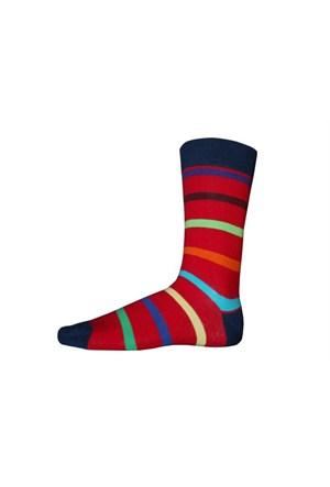 Korayspor Cok Renkli Çizgili 122 A.Lacivert Erkek Çorap Çizgili