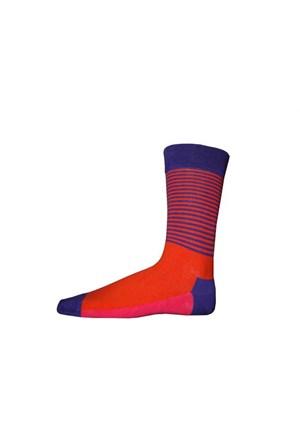 Korayspor İnce Çizgili Cıft Renk 121 Mor Erkek Çorap Çizgili