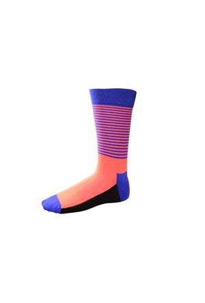 Korayspor İnce Çizgili Cıft Renk 121 Sax Erkek Çorap Çizgili