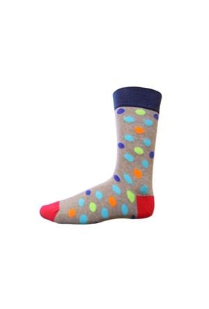 Korayspor Puanlı Çorap 125 Gri Erkek Çorap Çizgili