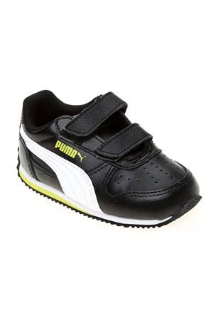Puma Fieldsprint L V Kıds Black-White-Sulphur Çocuk Spor Ayakkabı 21-27