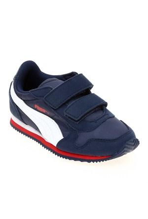 Puma St Runner V Kids Peacoat-White-High Risk Çocuk Spor Ayakkabı 28-35