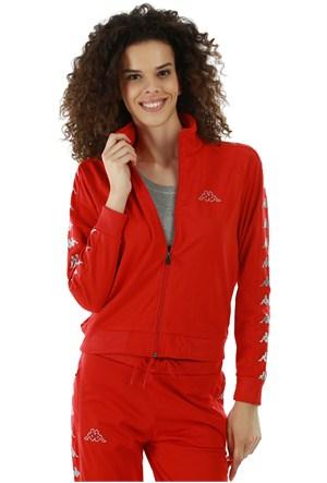 Kappa 1 302XOC Y32XXL Bayan Kadın Raşel Şeritli Sweatshirt Kırmızı