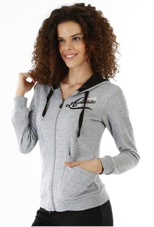Kappa 1 3026P6 77ML Bayan Kadın İnterlok Sweatshirt Gri Melanj