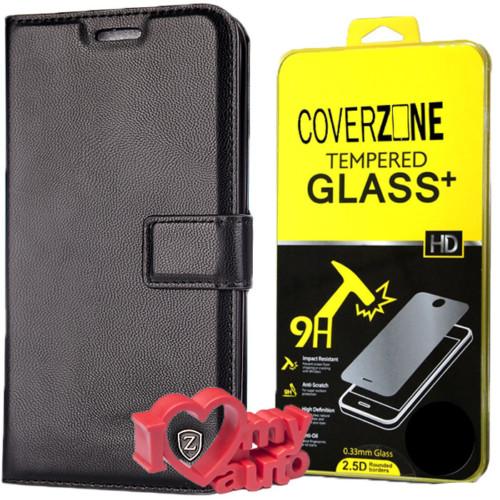 CoverZone Lg G5 Kılıf Kartvizitli Cüzdan Siyah + Kırılmaz Cam + 3d Araç Kokusu