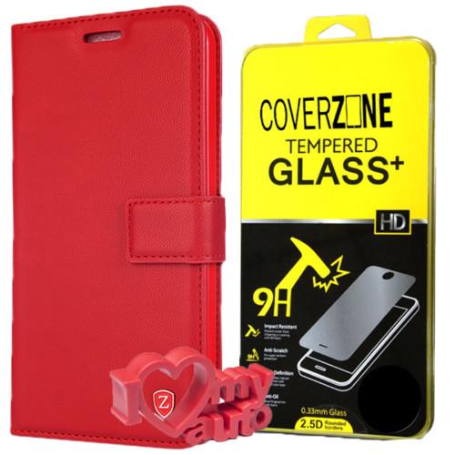 CoverZone Lg G5 Kılıf Kartvizitli Cüzdan Kırmızı + Kırılmaz Cam + 3d Araç Kokusu