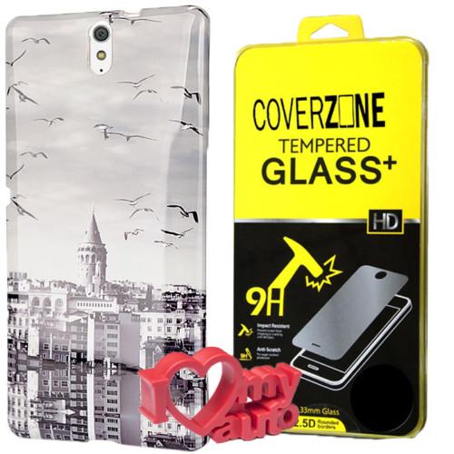 CoverZone Sony Xperia C5 Kılıf Desenli Silikon Galata + Kırılmaz Cam + 3d Araç Kokusu