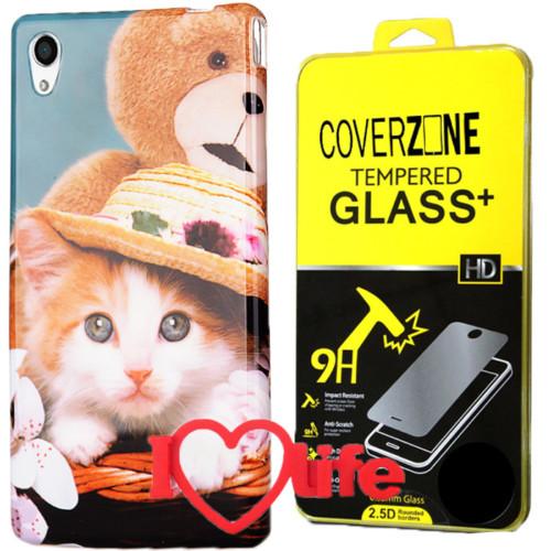 CoverZone Sony Xperia M4 Aqua Kılıf Desenli Silikon Kedi + Kırılmaz Cam + 3d Araç Kokusu