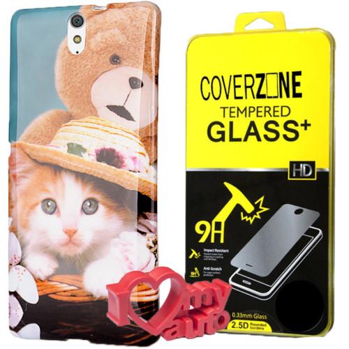 CoverZone Sony Xperia C5 Kılıf Desenli Silikon Kedi + Kırılmaz Cam + 3d Araç Kokusu