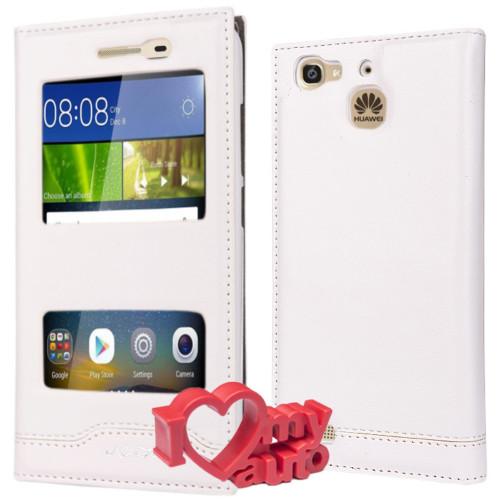CoverZone Huawei GR3 Kılıf Magnum Vip Pencereli Beyaz + 3d Araç Kokusu