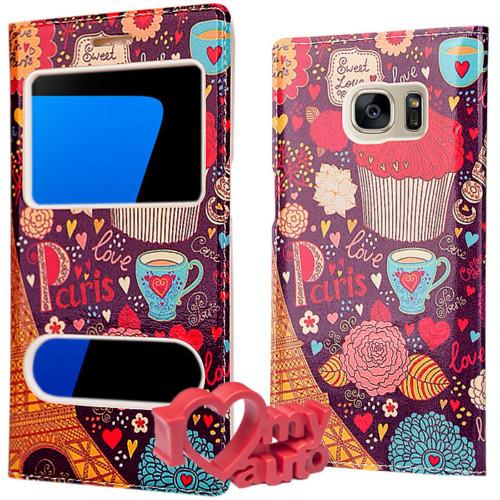 CoverZone Samsung Galaxy S7 Kılıf Desenli Çift Pencereli Paris + 3d Araç Kokusu