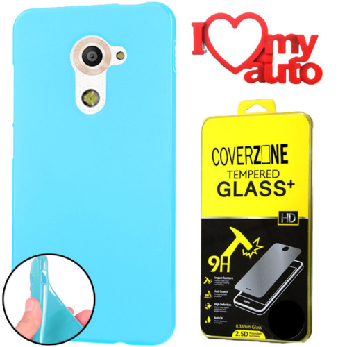 CoverZone Vodafone Smart Pro 7 Kılıf Silikon Mavi + Kırılmaz Cam + 3d Araç Kokusu