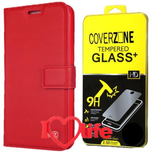 CoverZone Samsung Galaxy A5 2016 A510 Kılıf Kartvizitli Kırmızı + Kırılmaz Cam + 3d Araç Kokusu