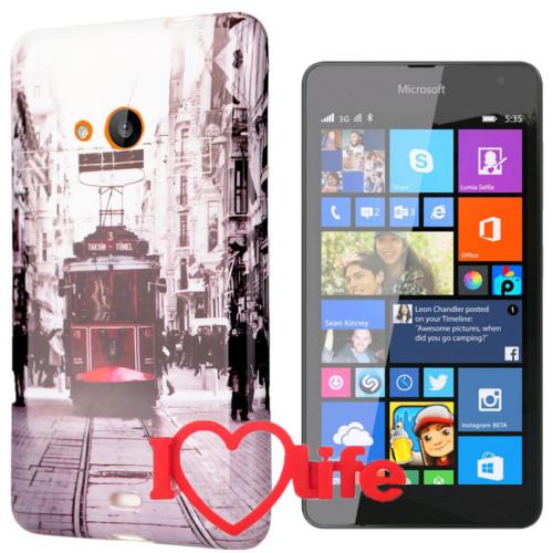 CoverZone Microsoft Lumia 535 Kılıf Desenli Silikon Tramway + 3d Araç Kokusu