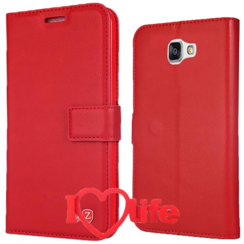 CoverZone Samsung Galaxy A7 2016 A710 Kılıf Kartvizitli Kırmızı + 3d Araç Kokusu