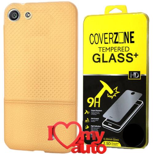 CoverZone Turkcell T70 Kılıf Dot Silikon Gold + Kırılmaz Cam + 3d Araç Kokusu