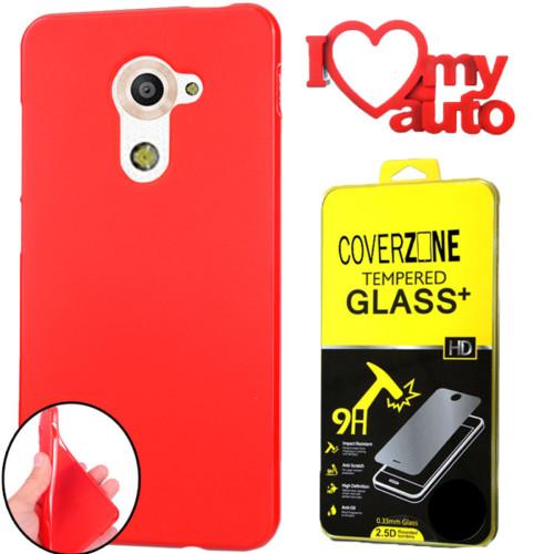 CoverZone Vodafone Smart Pro 7 Kılıf Silikon Kırmızı + Kırılmaz Cam + 3d Araç Kokusu